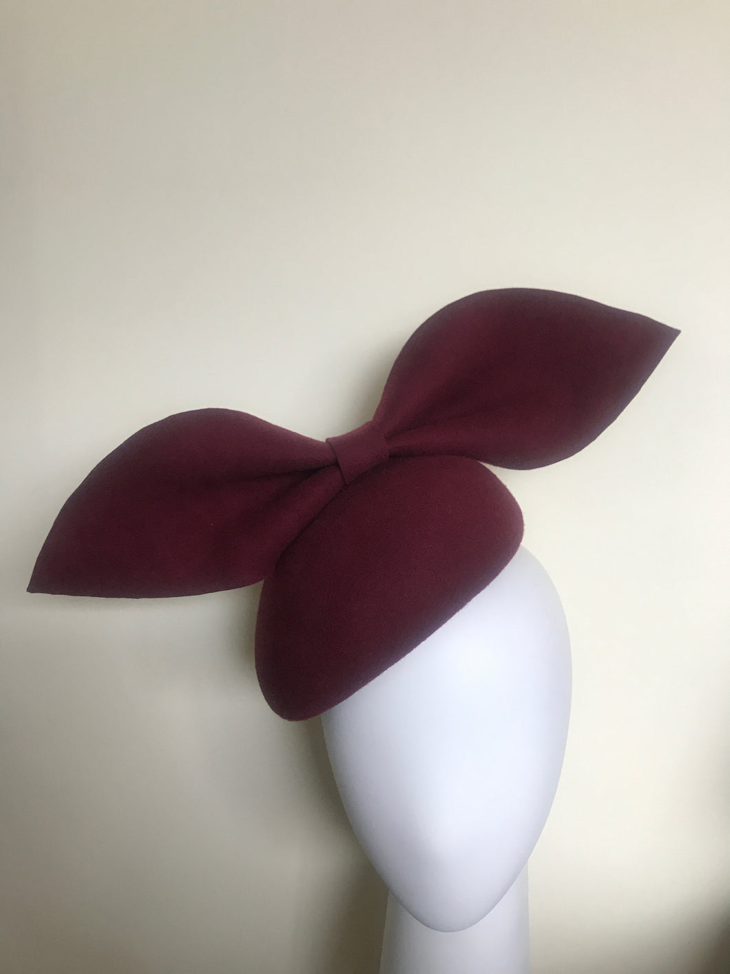 Kate - Burgundy Wool Felt Side Hugger with Oversized Bow