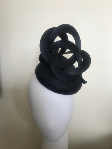 Trudy - Black Sinamay Button Base with Black Swirls