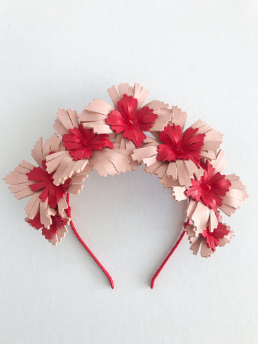 Lucy - Blush Pink and Red Leather Crown