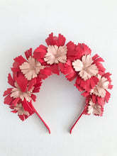 Lucy - Red and Blush Pink Leather Crown