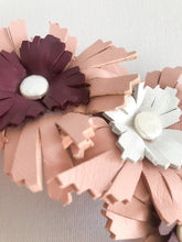 Lucy - Blush Pink, Burgundy and White Leather Crown
