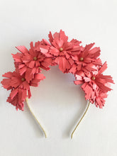 Lucy - Coral and Gold Leather Crown
