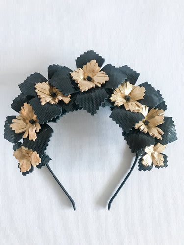 Lucy - Black and Gold Leather Crown