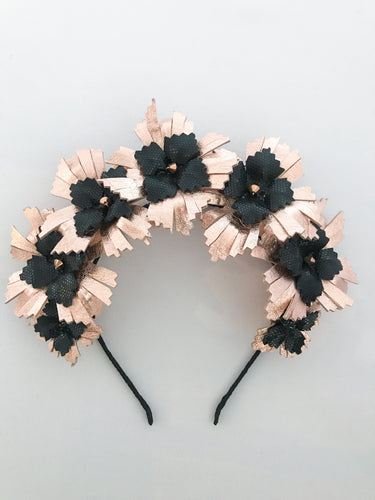 Lucy - Rose Gold and Black Leather Crown