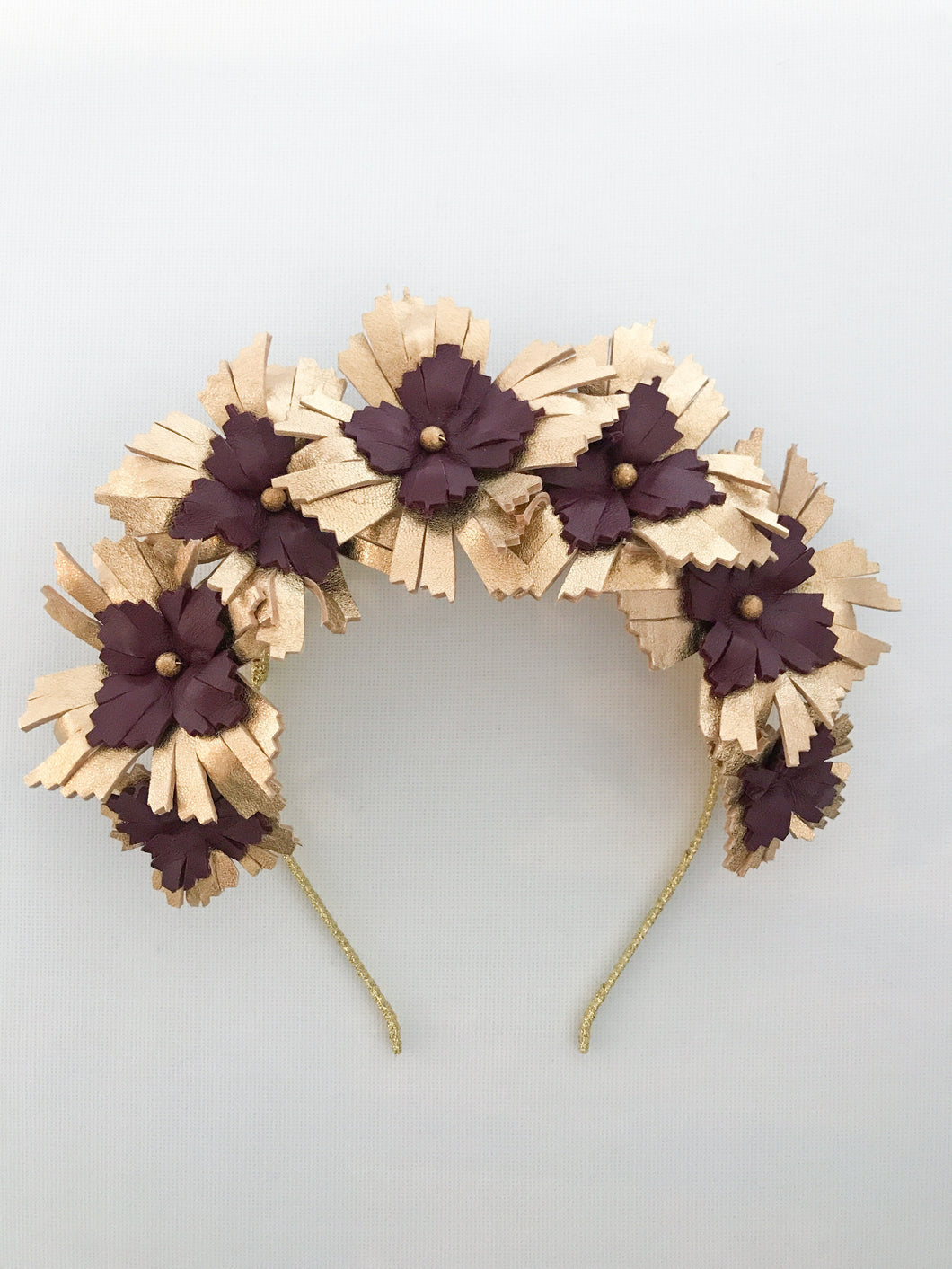 Lucy - Gold and Burgundy Leather Crown