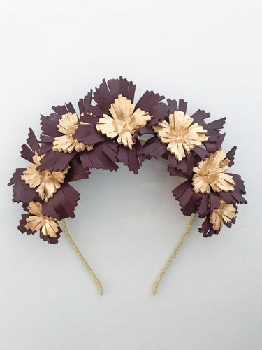 Lucy - Burgundy and Gold Leather Crown