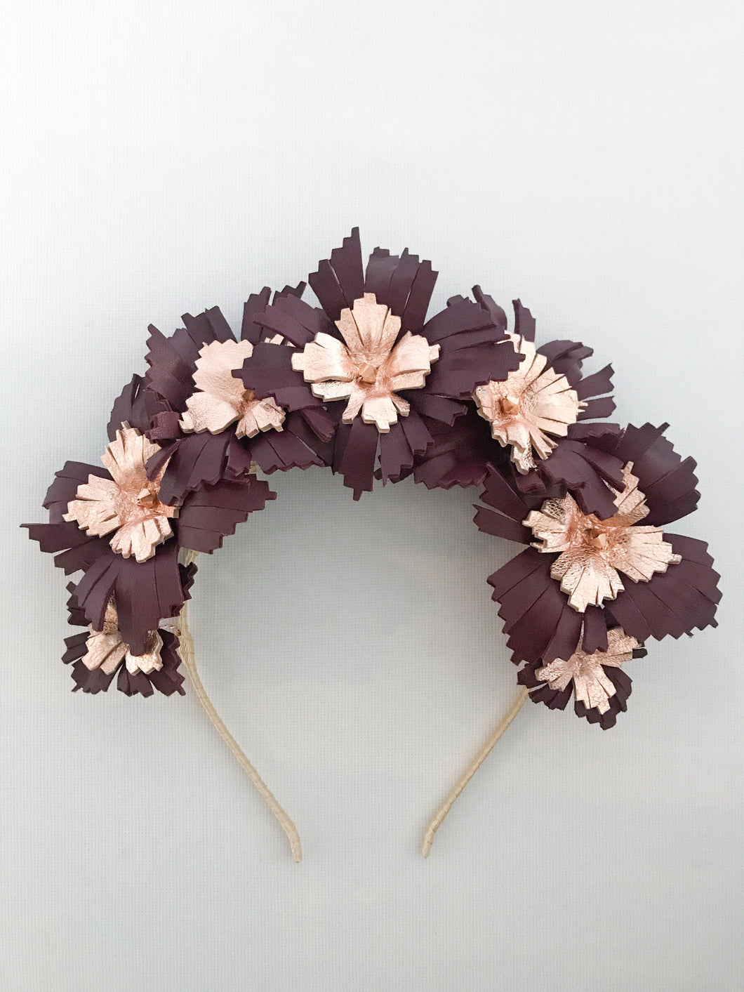 Lucy - Burgundy and Rose Gold Leather Crown
