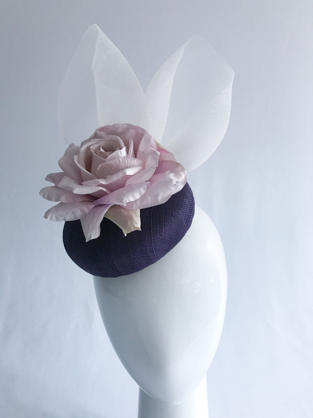 Laura - Purple Sinamay with Lilac Rose and Crinoline