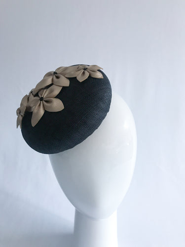 Large Black Sinamay Base with Gold Leather Flowers