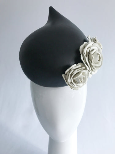 Black Leather Teardrop with Handmade White Leather Roses