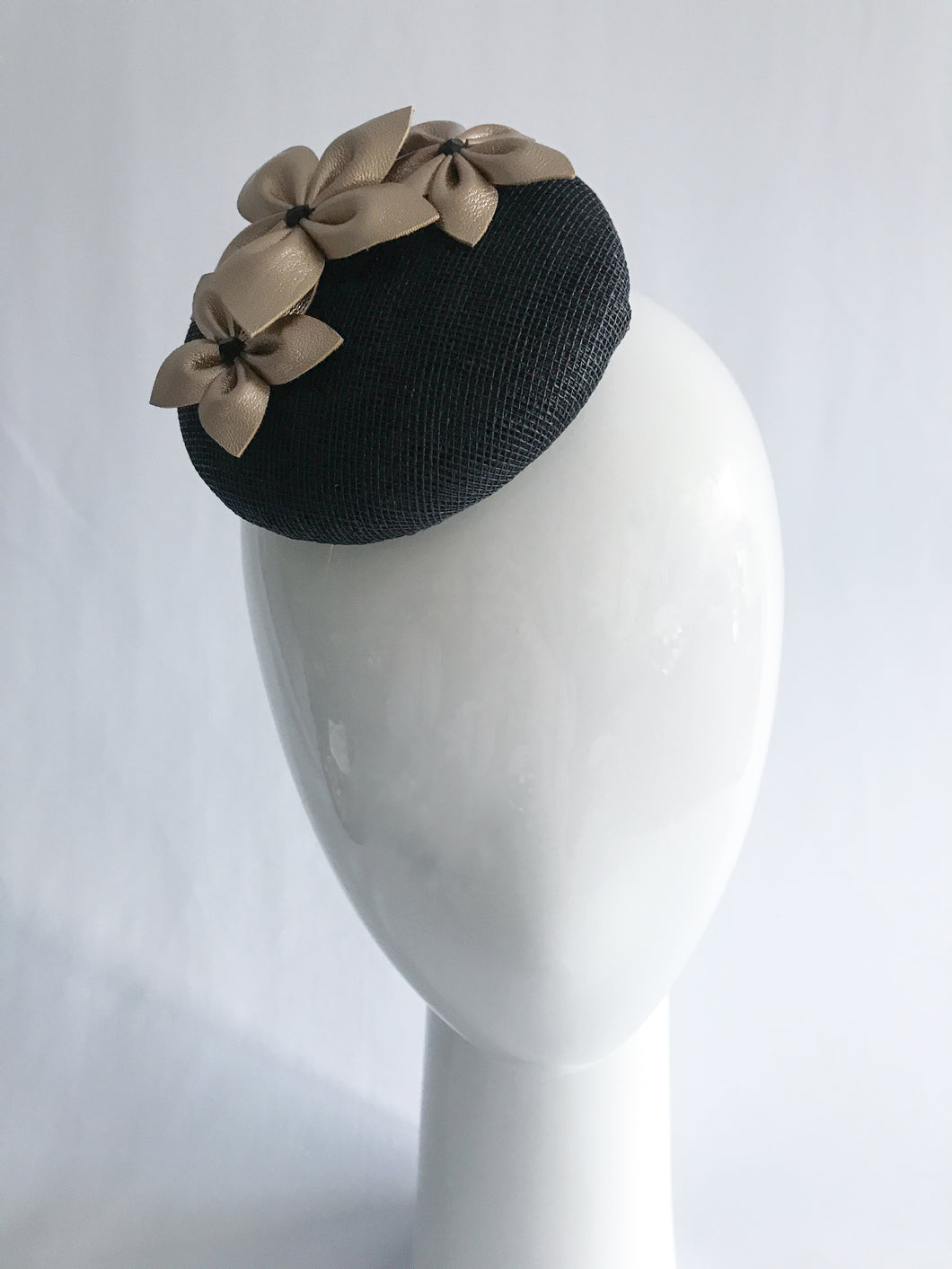 Small Black Sinamay Base with Gold Leather Flowers