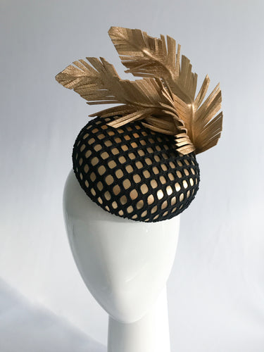 Jayne - Gold Leather Button with Black Mesh and Wired Gold Feathers