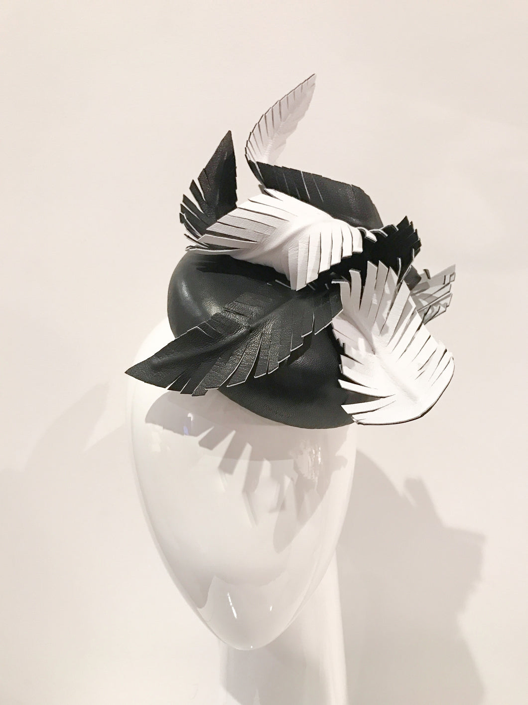 Andrea - Black and White Leather Feathers