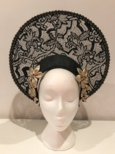Black and Gold Lace Halo Crown Headband