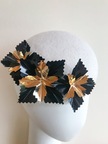 Starburst Large - Winter White Black and Gold Large Felt Button