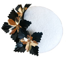Starburst Mini - Winter White Black and Gold Mini Felt Button