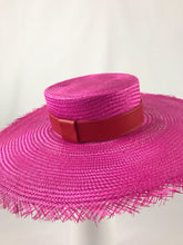 Pink Wide Brimmed Straw Boater with Distressed Edge and Red Leather Band