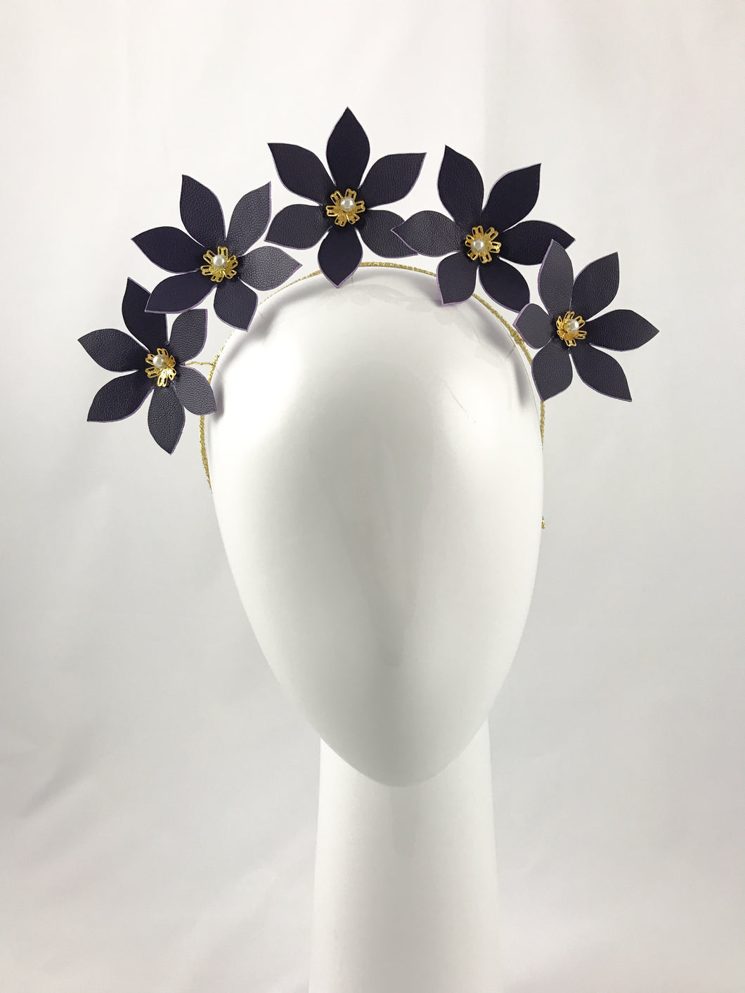 Dark Purple Leather Flower Crown