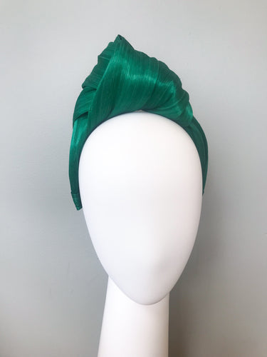 Green Silk Abaca Turban Style Hairband