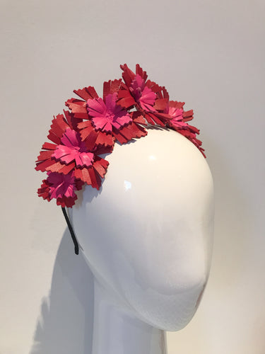Lucy - Red and Hot Pink Leather Crown