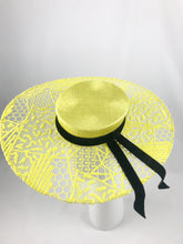 Yellow Abstract Lace Boater with Trailing Black Velvet Ribbon
