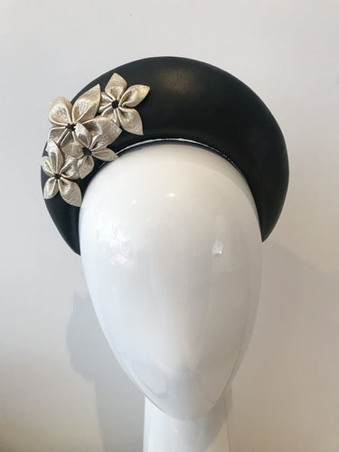 Black Leather Halo Headband with Gold Leather Feathers