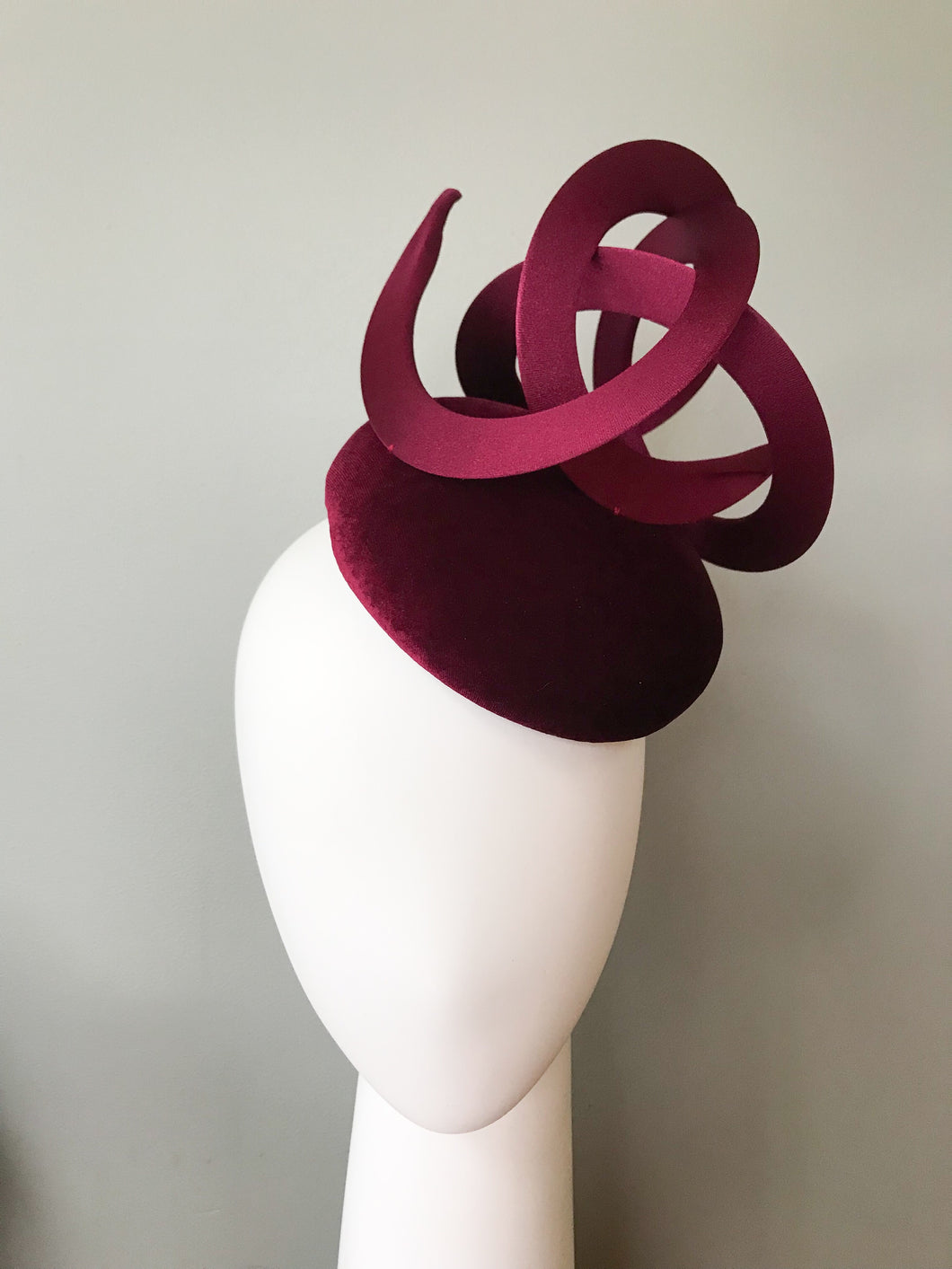 Trudy - Burgundy Velvet Button Base with Matching Swirls