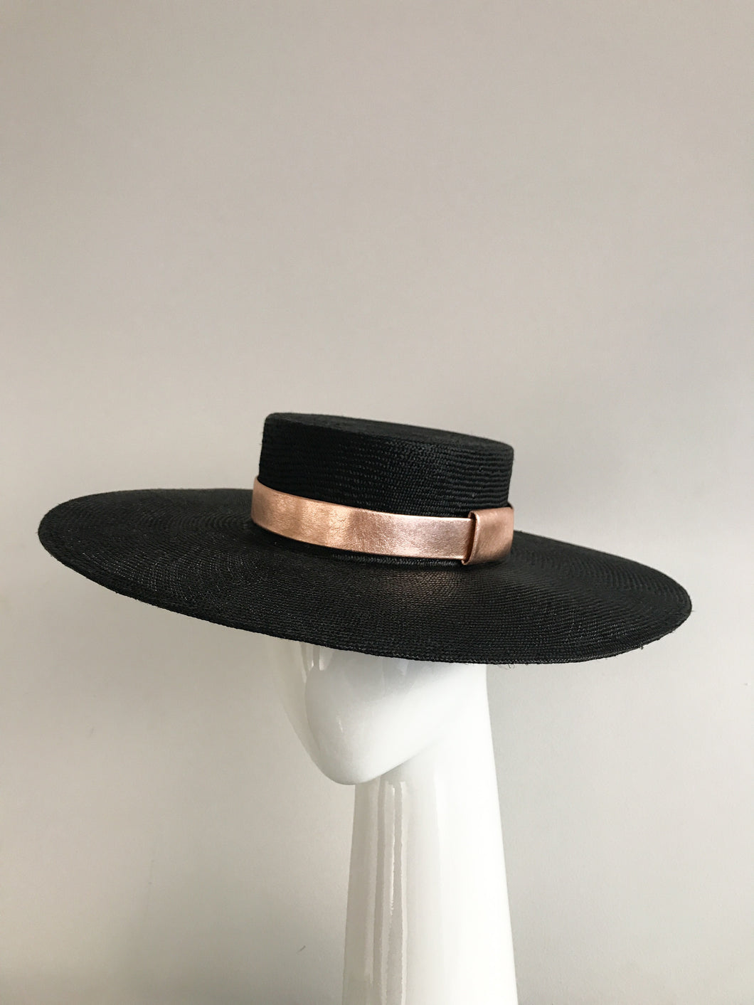 Black Wide Brimmed Straw Boater with Rose Gold Leather Band