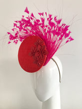 Taragh - 3D Percher Disc in Red with Pink Feather Spray and Red Leather Star Flowers