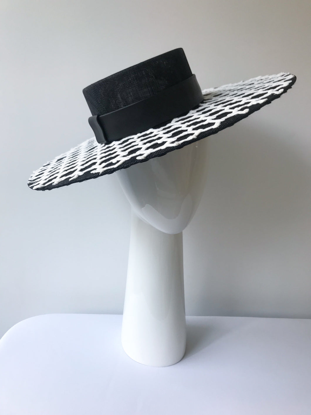 5682c9e0 Black Wide Brim Boater with White Geometric Lace and Black Leather Band