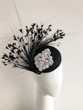 Large Black Sinamay Base with White Lace Detail and Feather Spray