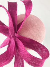 Pale Pink Sinamay Base with Magenta Pink Abstract Bow