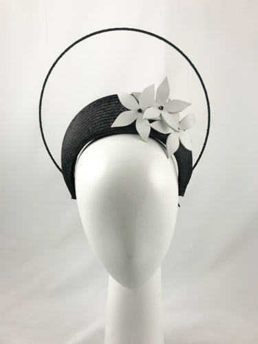 Black Halo Crown Headband with White Leather Flowers