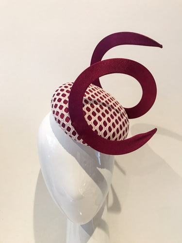 Burgundy and Blush Headpiece with Single Swirl