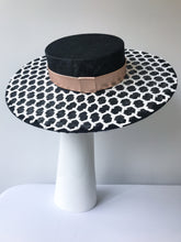 Black Wide Brim Boater with White Geometric Lace and Rose Gold Leather Band