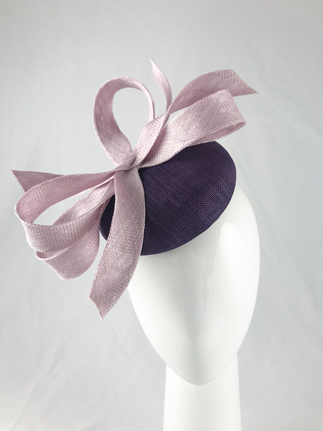 Deep Purple Sinamay Base with Pale Lilac Abstract Bow