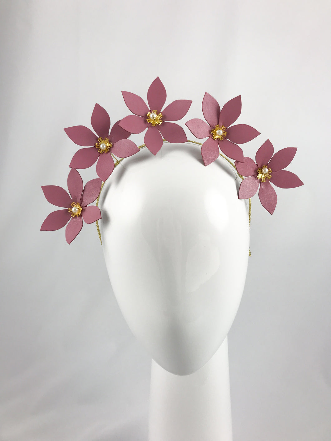 Dusty Pink Leather Flower Crown with Gold and Pearl Detail