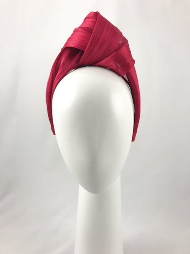Red Silk Abaca Turban Style Hairband