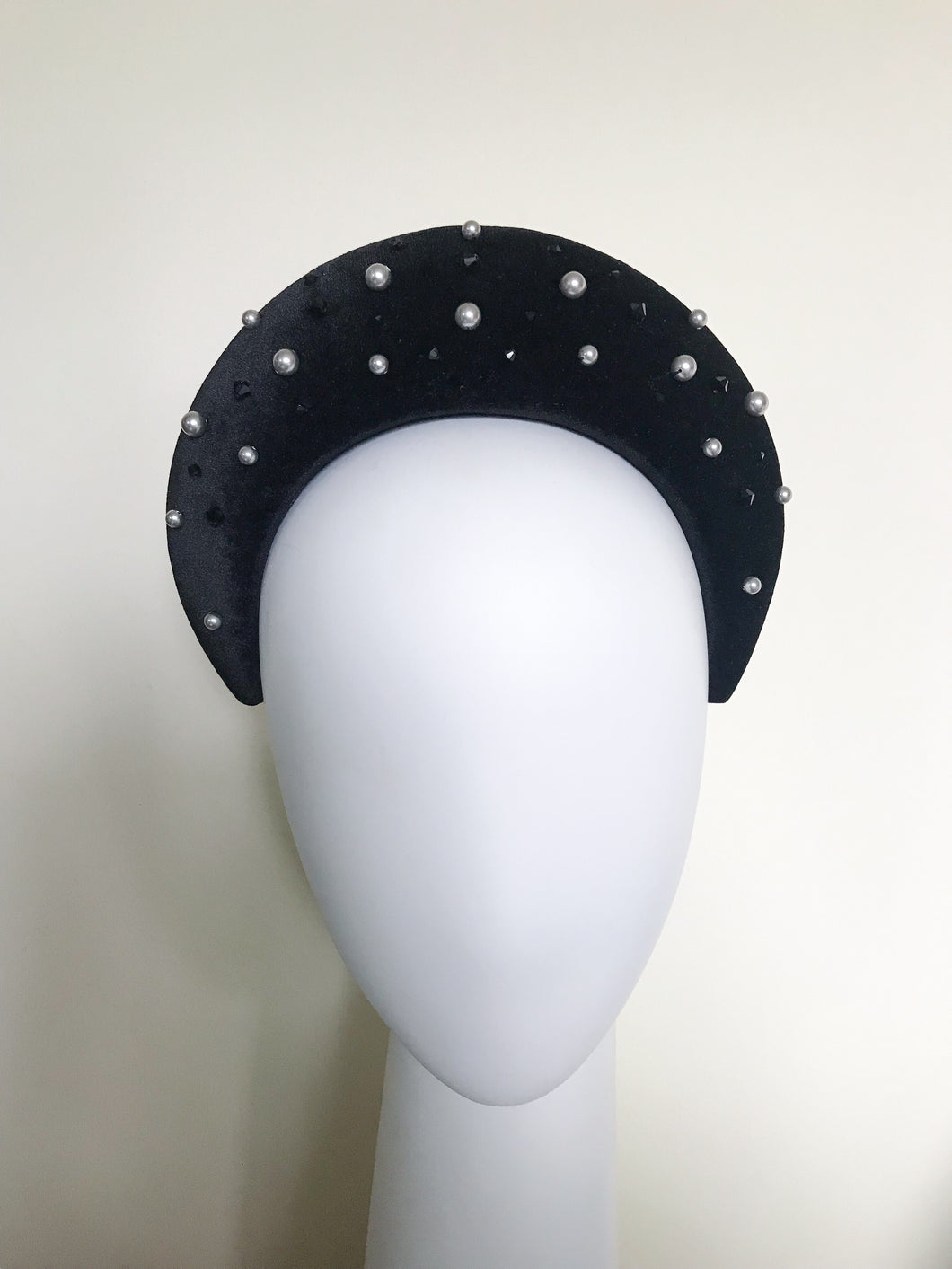 Black Velvet Halo Headband With Swarovski Crystals and Pearls