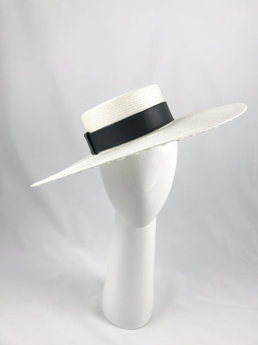 Off White Wide Brimmed Straw Boater with Black Leather Band