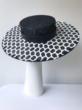 Black Wide Brim Boater with White Geometric Lace and Black Leather Band