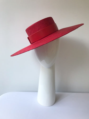 Red Wide Brimmed Straw Boater with Red Leather Band