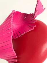 Olivia - Large Red Leather Button with Hot Pink Leather Feather