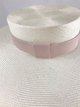 Cream Wide Brimmed Straw Boater with Blush Pink Leather Band