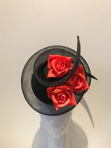 3D Percher Disc in Black with Crinoline Swirl and Orange Roses