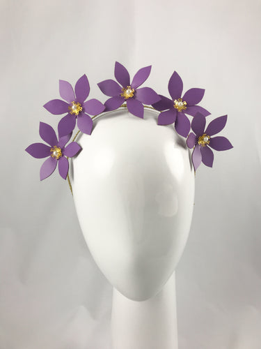 Purple Leather Flower Crown with Gold and Pearl Detail