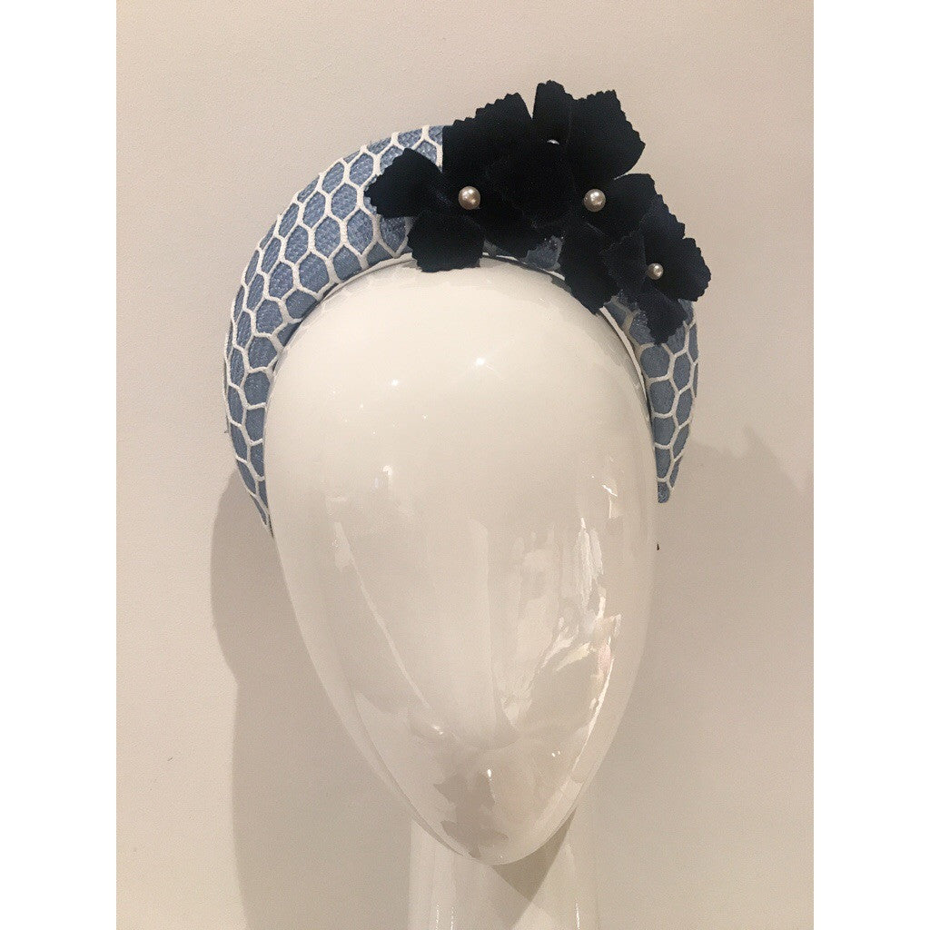 Blue and White Halo Crown Headband with Navy Flowers
