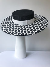 Black Wide Brim Boater with White Geometric Lace and White Leather Band