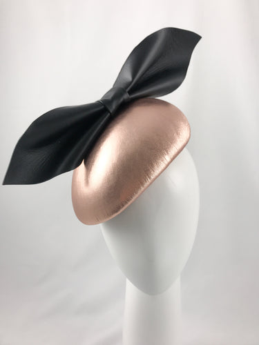 Kate - Rose Gold Leather Side Hugger with Oversized Black Leather Bow