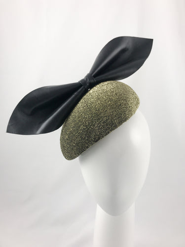Kate - Sparkly Black and Gold Side Hugger with Oversized Black Leather Bow